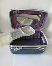 Vintage Blue Crown Train Case Tray Mirror - Cosmetics Artist Makeup Case Luggage