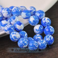 New 30pcs 10mm Round Babysbreath Lacquer Loose Spacer Glass Beads Deep Blue