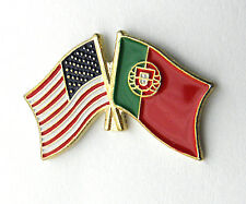 PORTUGAL PORTUGUESE USA COMBO FLAG LAPEL PIN BADGE 1 INCH