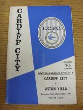 26/12/1967 Cardiff City v Aston Villa (pliegue, puntuación detalladas en cubierta y marca en B