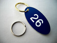 ENGRAVED Locker, Key Fobs, Numbered Tags/Discs Gym Pub Hotel Office Blue x25