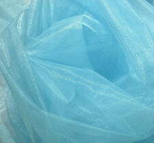 A21 (Per Meter) Sky Blue Crystal Mirror Organza Darpping Sheer Fabric Material