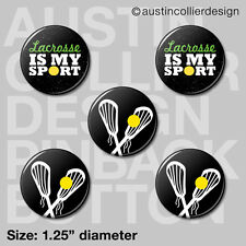 """(5) LACROSSE 1.25"""" pinback buttons / badges - lax team gift pins"""