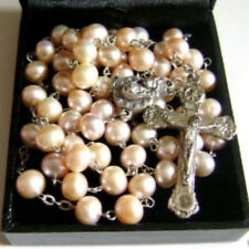 AAA 8-9mm Real Pearl ROSARY CROSS Relic Jesus Cross CRUCIFIX CATHOLIC NECKLACE