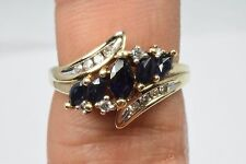 Women's 1.0 ct Diamond & Sapphire Engagement Cocktail 10k Solid Yellow Gold Ring