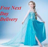 Frozen Elsa Party Dress Blue Fancy cosplay girls childrens kids gown fancy dress