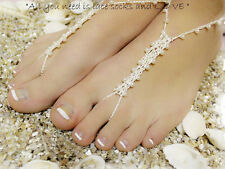 Bridal Barefoot Sandals White Pearls Wedding foot Shoes Thongs Anklet Beach