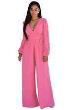 NEW HOT PINK BELTED LONG SLEEVE FLARED WIDE LEG JUMPSUIT DRESS SIZE 8 10 12 14