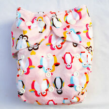 1 Penguin Minky Cloth Diaper Cover Reusable Washable Adjustable Waterproof Girl