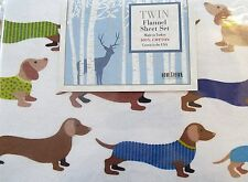 Homegrown Colorful Dachshunds Twin Flannel Sheet Set Dog Show, Dachshund Sheets