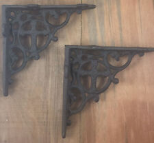 Small Cast Iron Cross Shelf Bracket Support Set of 2