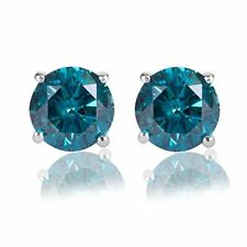 2.00CT Round Blue Simulated Diamond 14K White Gold Over Stud Earrings Screw Back