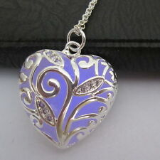 Glow In The Dark Purple Heart Pendant Necklace Fairy Locket Steampunk Jewelry