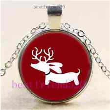 Christmas Reindeer Cabochon Glass Tibet Silver Chain Pendant Necklace