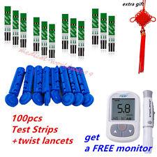 100xstrips&Lancets+a FREE Glucometer Blood Glucose Sugar Starter Diabetes Tester