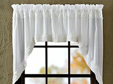 Shabby French Country Chic WHITE RUFFLED SWAGS Sheer Window Cafe Curtain Ruffles