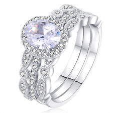 Women's 925 Sterling Silver Halo Oval CZ Wedding Band Engagement Ring Set Size 7