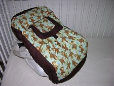 NEW INFANT CAR SEAT CARRIER COVER M/W JUNGLE BABIES MONKEY FABRIC