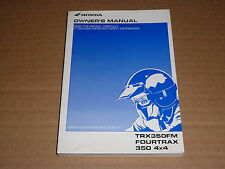 OWNER'S MANUAL HONDA TRX 350 FM FOURTRAX 4X4 2001-