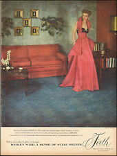 1949`Vintage ad for Firth Rugs and Carpets`Sexy Model, red dress (080115)