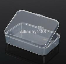 2PC Clear With Lid Small Plastic Storage Box Jewelry Collection Container New CA
