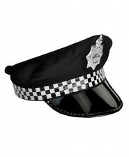 CHECKERED POLICE POLICEMAN OFFICER COP COSTUME PARTY HAT CAP BADGE - ADULT SIZE