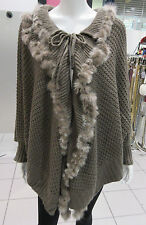 Genuine Fur Poncho Fits XL 1X 2X 3X 4X Plus Light Brown Cape Sleeve Cuff NWT