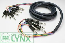 8 Way Mono Jack to Jack Wiring Loom Snake Audio Channel Loom 3m 10ft 6.3mm 1/4""