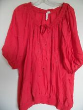 Overdrive  Coral Embroidered  Boho Top  Tunic size 3X