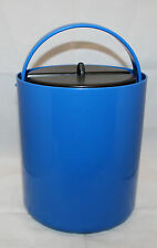 Vintage Mid Century Modern Bodum Plastic Ice Bucket Blue Black Lid Made in Swiss