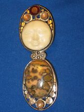 Sajen Hand Crafted Sterling Silver Agate Garnet Pendant / Pin With Goddess Face