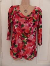 Per Una size 12 BNWT red, pink green and white stretchy top RRP £25