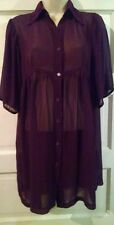 Forever 21 Plum 3/4 Sleeve Dress M Sheer Sexy Club Punk Goth Babydoll Pinup