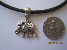 Black Leather Cord Choker Necklace with elephant charm adjustable lobster clasp