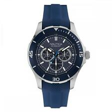 NAUTICA MEN'S NST 10 44MM BLUE SILICONE BAND STEEL CASE QUARTZ WATCH NAI13522G