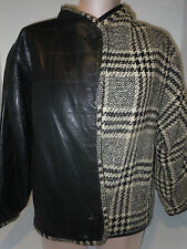 GIANNI VERSACE Womens Open Front Leather Wool Jacket Coat Black Gray M Medium
