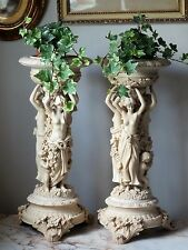 A Pair Of Exquisite Vintage Goddess Female Cherub Jardiniere Candle Holders