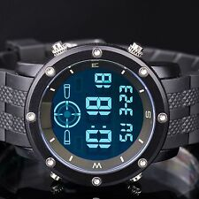 INFANTRY Mens LCD Digital Wrist Watch Day Date Sport Alarm Army Black Rubber