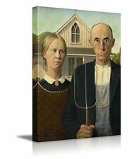 """American Gothic by Grant Wood Giclee Canvas Prints Wrapped Wall Art - 16"""" x 24"""""""