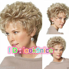 HOT! women Lady Short Curly hair Blonde wig Pixi Cosplay Full Hair Wig/Wigs