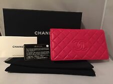 New! Chanel Bifold Long Leather Wallet - Red