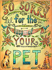 SO Sorry For the Loss of Your Pet Dog Cat Sympathy Card