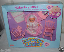 #4716 NRFB Galoob Bouncin Babies Deluxe Baby Gift Set with Cuddly Baby Doll