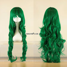 80cm long wavy curly cosplay wig in forest dark green, UK seller, Jeri style