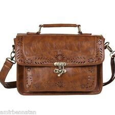 Ecosusi Women Designer Vintage Leather Satchel Shoulder Messenger Bag Briefcase