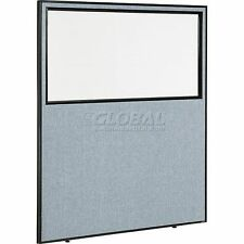 """Office Partition Panel With Partial Window, 60-1/4""""W X 72""""H, Blue"""