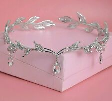 Crystal Crown Bridal Hair Accessory Wedding Rhinestone Waterdrop Leaf Tiara