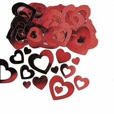 Valentines Party Red Hearts Die-Cut Metallic Table Confetti Decoration - 361001