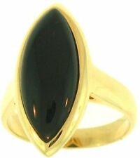 Natural Black Nephrite Jade Marquis Stone Ring, Size 7