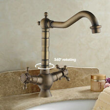 Rotating Deck Mounted Antique Brass Bathroom Sink Water Tap Basin Mixer Faucet